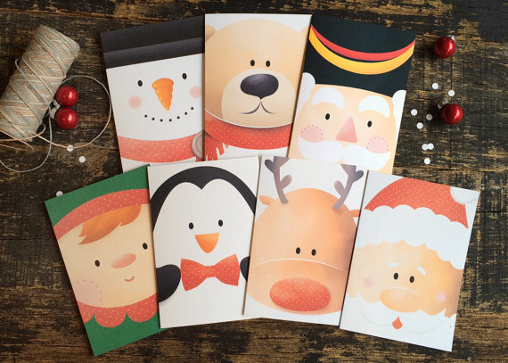 Set of 7 Christmas cards - Santa and Friends